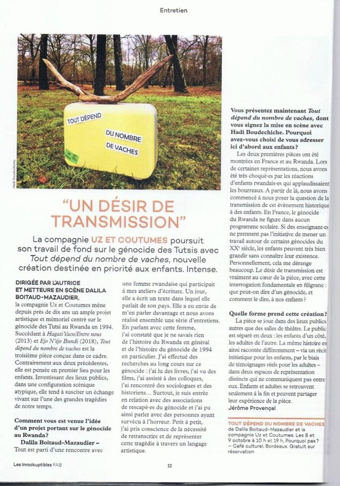 Article « un désir de transmission »
